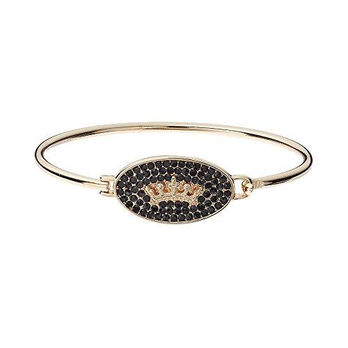 Juicy Couture Crown Oval Bangle Bracelet - Black/Goldtone