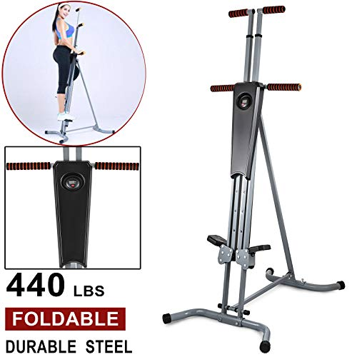 440Lbs Sturdy & Durable Steel Construction Max Climber Vertical Stepper Exercise Fitness Adjustable Height, Smooth & Quiet with Monitor & Manual Sealed Perfect Machine for Home, Offices Or Gym Club