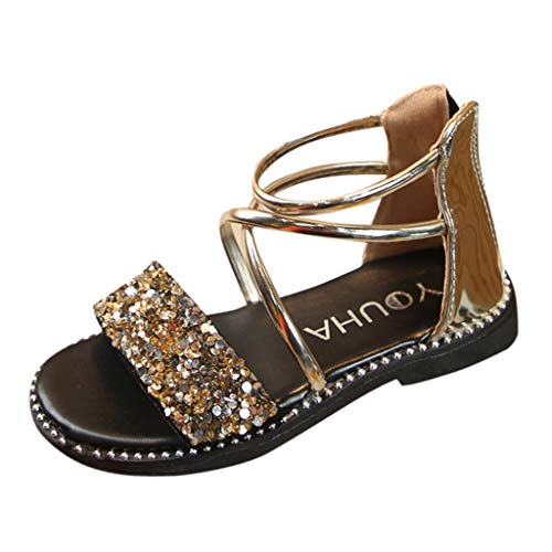 New in Respctful✿ Toddler Girl's Open Toe Cute Sequin Wedding Sandals Dress Little Girls Summer Flats Shoes Casual Gold