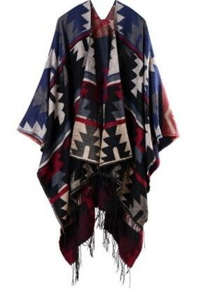 Ahuiopl Bohemian Womens Autumn Winter Poncho Ethnic Scarf Fashion Print Blanket Carves Lady Knit Shawl Tassel Cape Thicken,Navy,One Size SHU WOMEN Accessories Exercise & Fitness