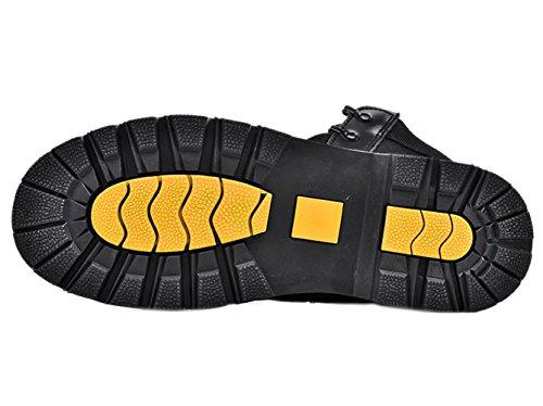 Insun Men's Cowhide Leather Round Toe Work Boots Black 8puA29yg