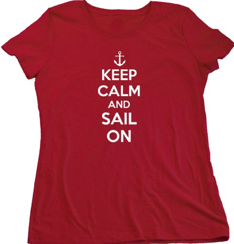 Ann Arbor T-Shirt Co. Women's Keep Calm and Sail On Cut T-Shirt