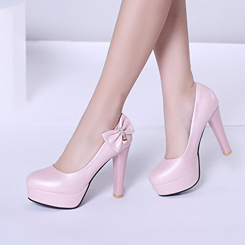 KHSKX-Spring And Autumn High Heels Waterproof Table Shoes 11Cm Heel Heel Women'S Shoes Pink F4j4yi2GB