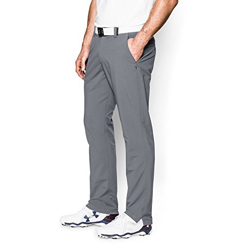 Under Armour Men's Match Play Golf Pants – Tapered Leg, Steel/True Gray Heather, 34/30
