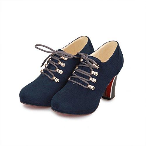BalaMasa donna con lacci tacchi alti solido pompe scarpe, Blu (Blue), 38