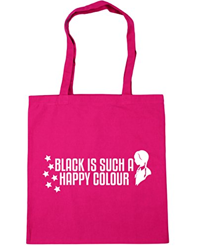 HippoWarehouse BLACK IS Such a Happy Color bolsa de la compra bolsa de playa 42 cm x38 cm, 10 litros fucsia