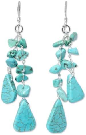 NOVICA Turquoise .925 Sterling Silver Resin Beaded Earrings 'Falling Rain'
