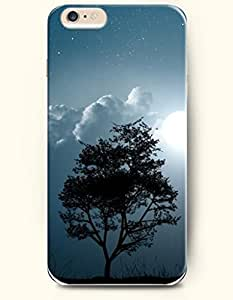 OOFIT iPhone 6 Case ( 4.7 Inches ) - White Cloud and Moon and Tree in the Dark