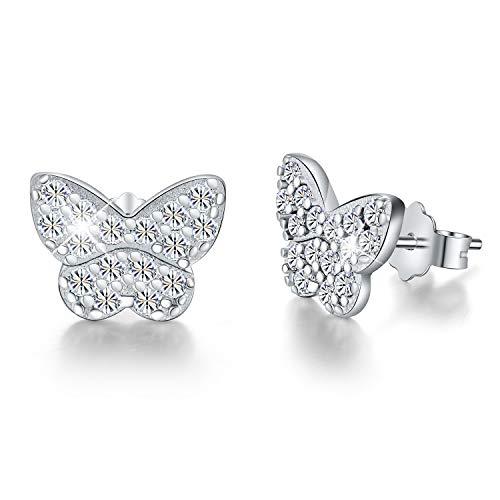 Esberry 18K Gold Plating 925 Sterling Silver CZ Butterfly Stud Earrings Colored Cubic Zirconia Hypoallergenic Earrings Jewelry for Women and Girls - 18k Butterfly Earrings