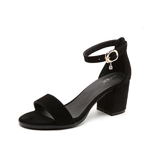 Alto verano Salvajes sandalias A Cinturón un sandalias Señora Grueso Tacón Hebilla De wRqxHSyaB