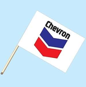 """Chevron Gas & Oil Logo"" - NEOPlex 30"" x 42"" Car Lot Flag Mounted on 4' Wooden Staff/Pole"