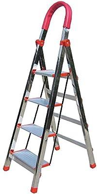 Cylficl Taburete Plegable de Acero Inoxidable 4 Escalera Plegable, hogar Conveniente Barandilla de Escalera de heces, heces del pie portátil, Carga 200kg: Amazon.es: Hogar