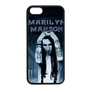 Custom Marilyn Manson Hard Back Cover Case for iPhone 5,5S TPU (Laser Technology)
