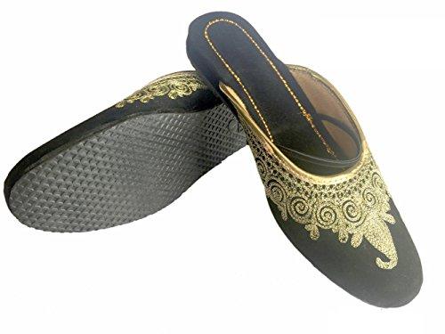 N Step-Scarpe da donna, stile Khussa Punjabi Jutti tradizionale retro aperto Mojari pompe Ballerina