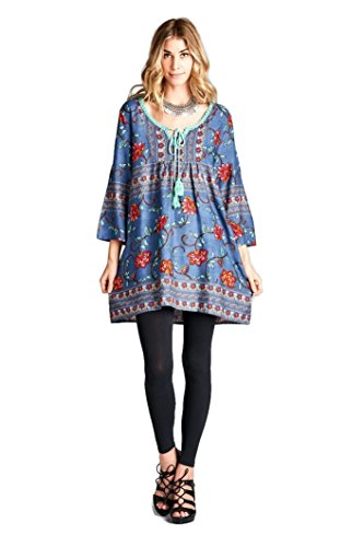 Boho-Chic Vacation & Fall Looks - Standard & Plus Size Styless - Velzera Floral Print Tassel Tie Tunic Dress Boho Chic Plus Size (Blue)