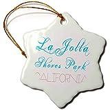 3dRose Alexis Design - American Beaches - La Jolla Shores Park, California. Red, blue text on white - 3 inch Snowflake Porcelain Ornament (orn_288393_1)