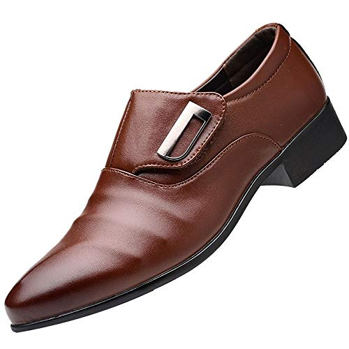 - Men's Strap Slip On Loafers Oxford Formal Business Casual Comfortable Classic Leather Dress Shoes for Men Brown