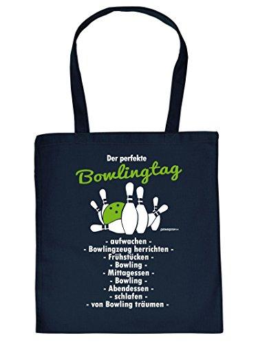 Hammer geile Baumwolltasche mit Aufdruck - Der perfekte Bowlingtag - coole Hipster Tasche für Bowlingfans Tragetasche Einkaufstasche