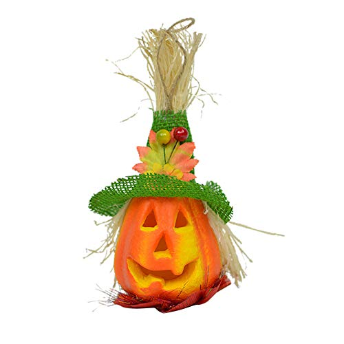 Transer- Pumpkin Lantern, Halloween LED Light Props Horror Ghosts Lamp Toy Battery Operated Home Decoration Ornamentation Gift Kids (Green) ()