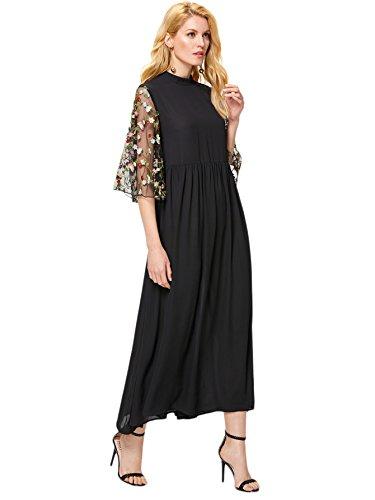 Romwe Women's Floral 3/4 Trumpet Sleeve Embroidery Mesh Ruffle A Line Long Maxi Dress Black L ()