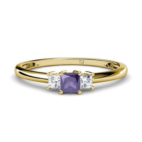 Iolite and Diamond (SI1-SI2, G-H) Three Stone Ring 0.38 cttw in 14K Yellow Gold.size 6.5 ()