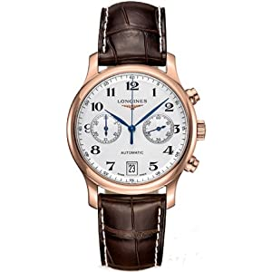 41QLJ%2BRcWWL. SS300  - Longines Master Collection Silver Dial 18kt Rose Gold Brown Leather Mens Watch L26698783