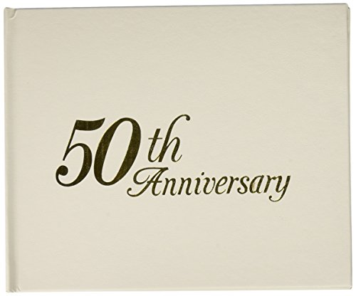 Darice P35447-50G 50th Anniversary Embossed Guest Book with Header, White