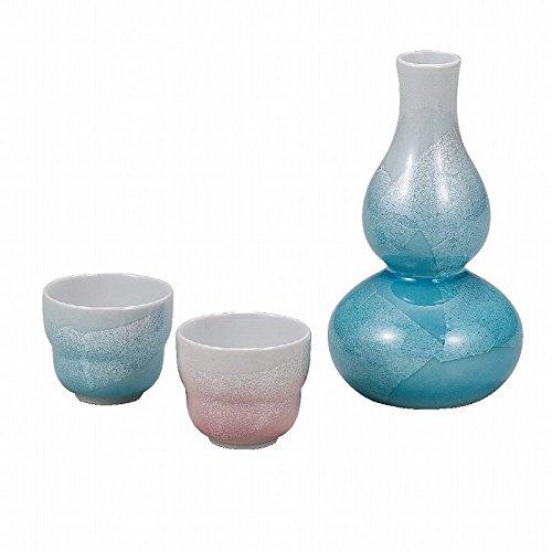 Japanese Traditionalセラミック九谷焼。Sake TOKKURIボトルとSakeカップ。Sake Set。シルバーリーフ。With Paper Box。ktn-k5 – 1178   B0742HP5S6