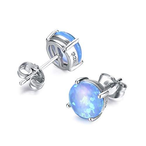 (Junxin 925 Sterling Silver Round Cut Opal Stud Earrings Gift for women and girls)