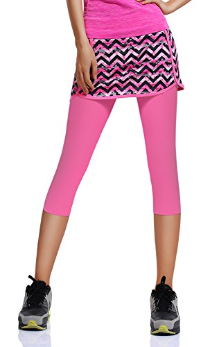 Cityoung Women's Athletic Capris Tennis Skirt With Leggings Size Medium (Printed Pink)