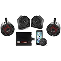 MTX Polaris RZR Remote Control Bluetooth Receiver All Weather Kit w Custom Dash and Roll Bar Speakers & Amplifier