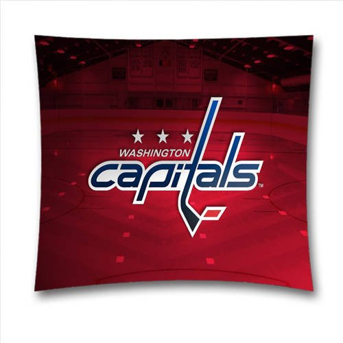 BlueCanoeH8682-NHL Washington Capitals Hockey Pillow Cover, 18x18 inches Cotton Toss Pillow Case, Halloween Decorations
