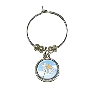 Graphics and More White Daisy on Blue Sky - Flower Wine Glass Charm Drink Stem Marker Ring