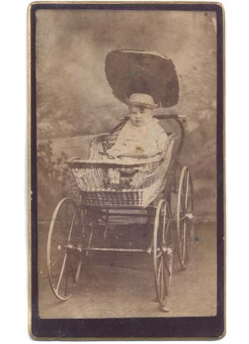 Fat Baby in Wood Wheeled Wicker Carriage Buggy CDV Photo (Antique Wicker Baby Buggy)