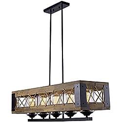 LALUZ Wood Kitchen Island Lighting 5-light Pendant Lighting Linear Chandeliers