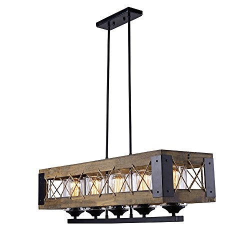LALUZ Wood Kitchen Island Lighting 5-light Pendant Lighting Linear Chandeliers
