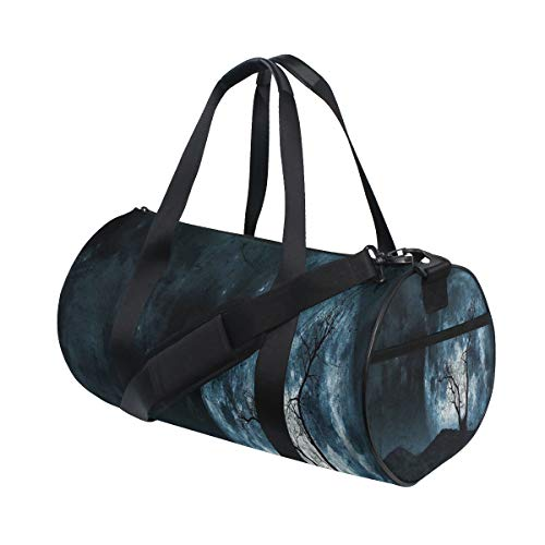 LONSANT Night Moon Sky with Tree Silhouette Gothic Halloween Colors Scary Artsy Barrel Duffel Bag Sports Yoga Gym Fitness Bag Travel Weekender Bags for Men and Women ()