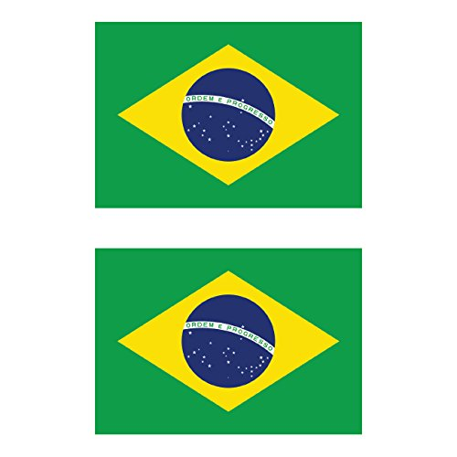 Two Pack Brazilian Flag Sticker FA Graphix Decal Self Adhesive Vinyl Brazil BRA BA