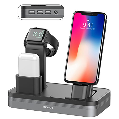 Conido 3 in 1 Charging Stand Compatible Apple Watch iPhone AirPods Charging Docks Holder 6-Port USB Chargeable Stand Compatible iWatch Series 3/2/1, iPhone X, 8, 8 Plus, 7, 7 Plus, 6, iPad Mini, iPod - Ipod Port Dock