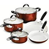 Tramontina Style 8-Piece Cookware Set, Metallic Copper includes 8'' fry pan, 10'' fry pan, 1.5-qt sauce pan with lid, 3-qt sauce pan with lid, 5-qt Dutch oven with lid