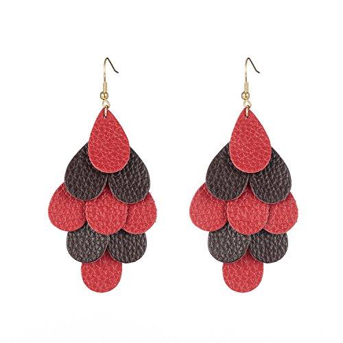 Dangle Leather (IDesign vintage jewelry Teardrop Earrings Multi Layer Bohemian Tassel Leather Dangle Earrings (Red&Smoke))