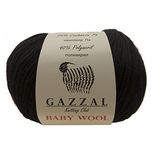 - 5 PACK - Gazzal Baby Wool 1.76 Oz (50g)/218 Yards (200m) Fine Baby Yarn, 40% Lana Merino, 20% Cashmere Type Polyamide; (Black - 803)