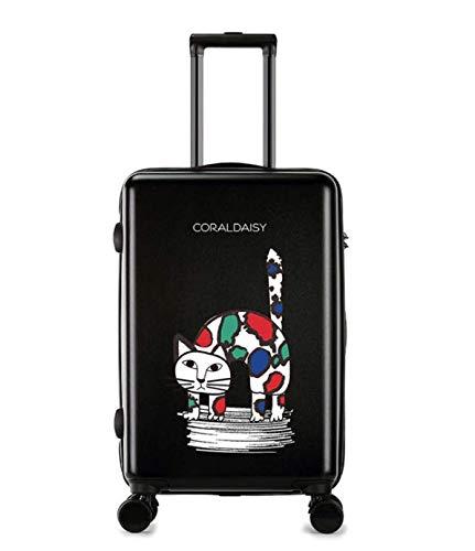 MTkxsy ファッショントロリーケースユニバーサルホイール漫画スーツケースかわいいプリントギフトスーツケース B07Q1WRSZH ブラック S