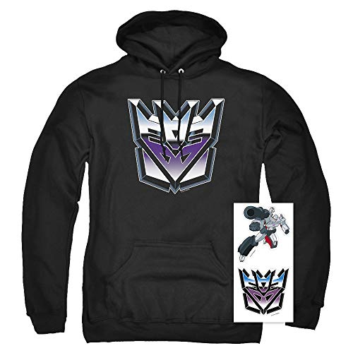 Transformers Decepticon Airbrush Logo Pullover Hoodie & Stickers (Large) Black