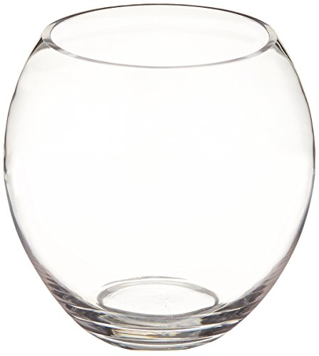 WGV Clear Elegant Egg Shaped Bubble Bowl Glass Vase, 7.5 by 8-Inch