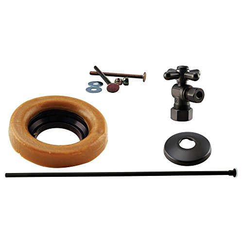 "Westbrass 1/2"" Nominal Compression Cross Handle Angle Stop Toilet Installation Kit with Annealed Brass Supply Line, Oil Rubbed Bronze, D1614TBX-12"