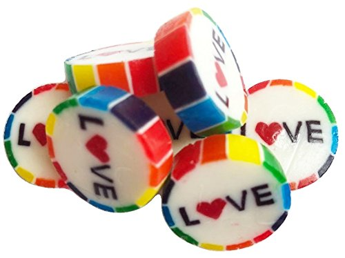 100 Rainbow Pride Sweets with LOVE in the middle in Watermelon Flavour Red Heart