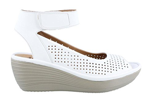 CLARKS Womens Reedly Salene White Leather Sandal