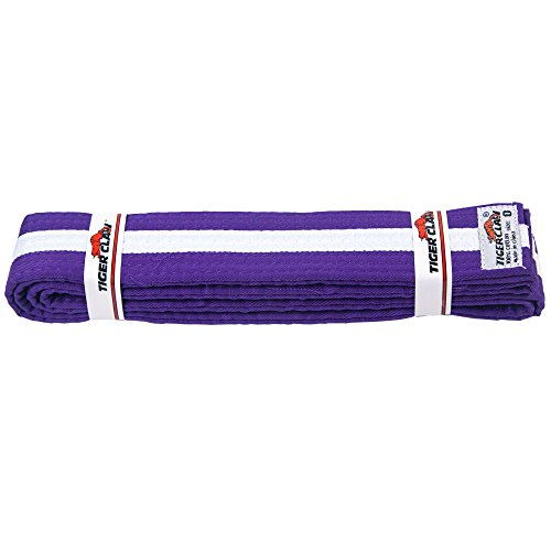 Tiger Cotton Belt (Uniform Belt - Purple With White Stripe)