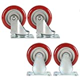 Casters LNX | 4 Pieces | Red | Universal Wheel | Swivel Wheel | Flat Plate casters | Directional casters | Low Noise | Heavy Duty | 3/4/5 inch